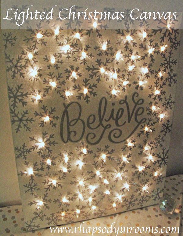 Lighted Christmas Canvas | 25+ easy DIY Christmas decor