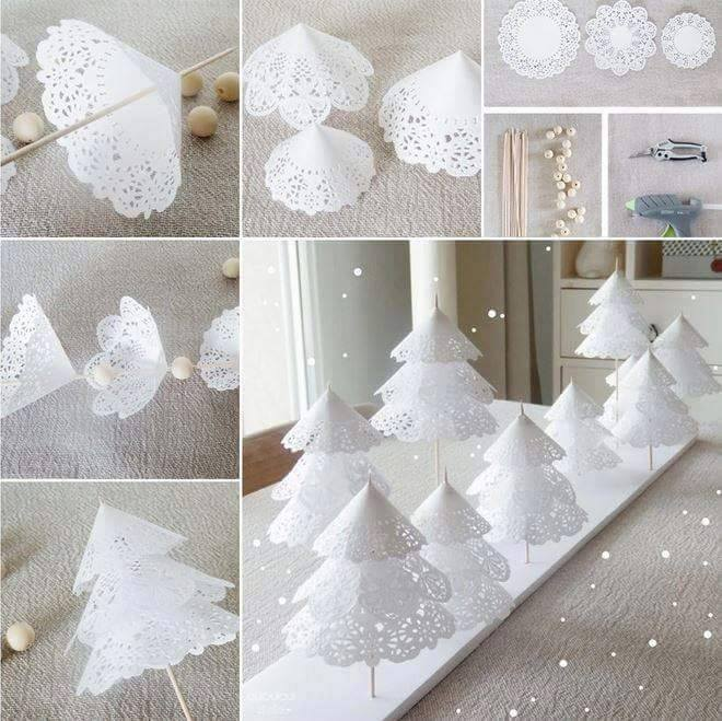 Paper Doily Trees | 25+ easy DIY Christmas decor | NoBiggie.net