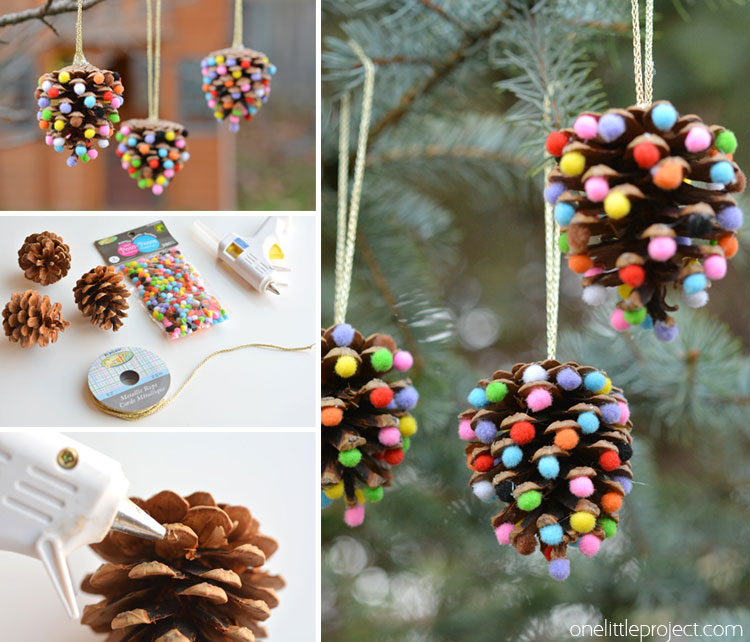 Pom Poms and Pinecones Christmas Ornaments | 25+ easy DIY Christmas decor | NoBiggie.net