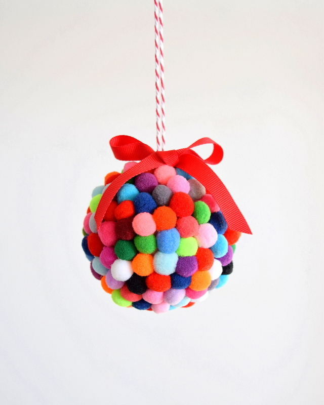 pom pom ornament 25 ornaments kids can make - Kids Christmas Ornaments