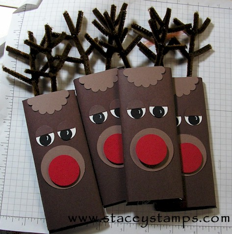 Reindeer candy bar wrappers | 25+ Rudolph crafts, gifts and treats | NoBiggie.net