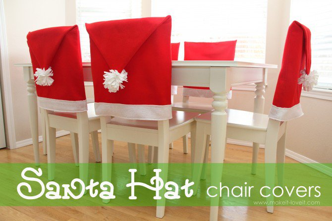 Santa Hat chair covers | 25+ easy DIY Christmas decor | NoBiggie.net