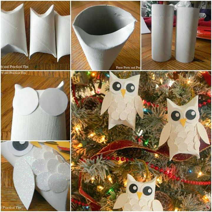 Snow Owl Ornaments | 25+ easy DIY Christmas decor | NoBiggie.net