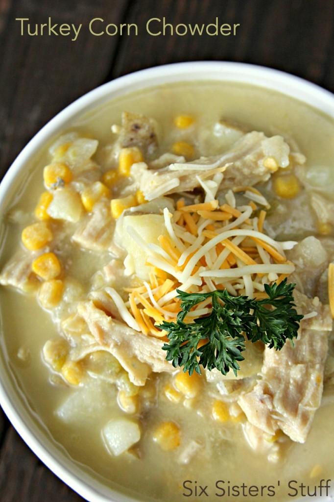 Turkey corn chowder - 25+leftover turkey recipes - NoBiggie.net