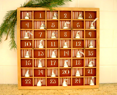 Type try turned advent calendar | 25+ Christmas advent calendar ideas