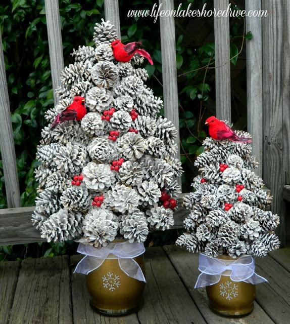 Winter Pine Cone Trees | 25+ easy DIY Christmas decor | NoBiggie.net