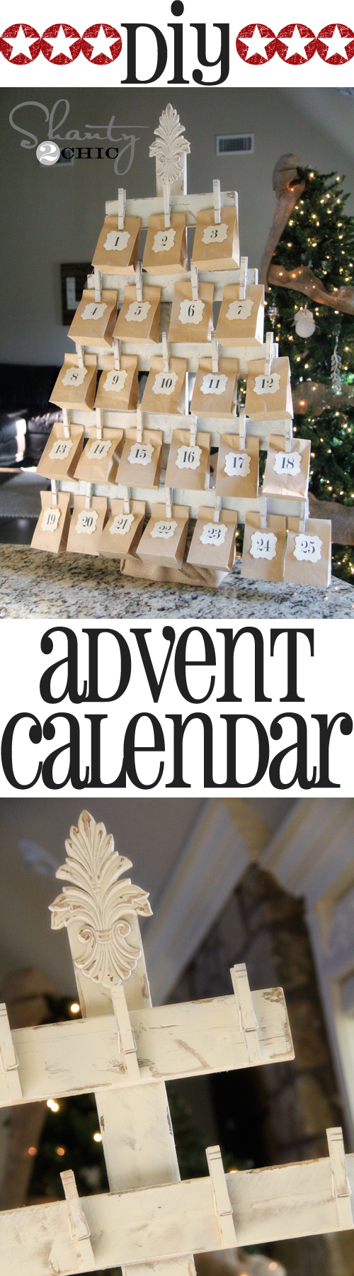 Wood advent calendar with free printables | 25+ Christmas advent calendar ideas