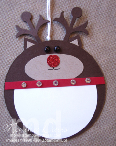 circle reindeer Christmas gift tags | 25+ Rudolph crafts, gifts and treats | NoBiggie.net