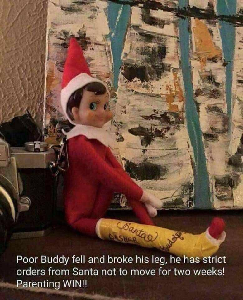 elf on the shelf broke his leg | 25+ Elf on the Shelf Ideas | NoBiggie.net