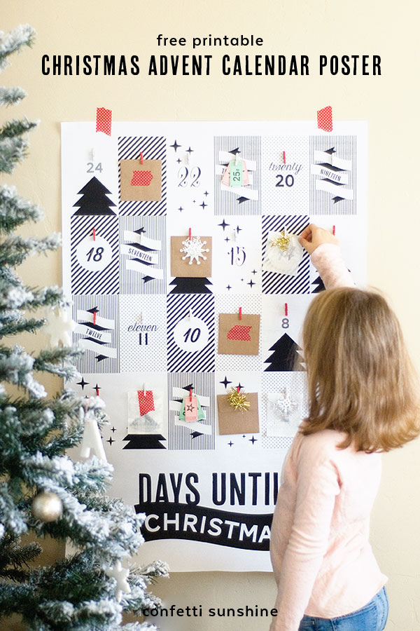 free printable Christmas Advent Calendar Poster | 25+ Christmas advent calendar ideas