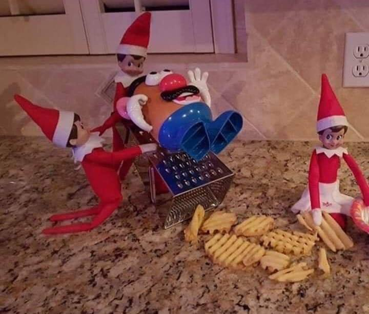 elf on the shelf with Mr. Potato Head | 25+ Elf on the Shelf Ideas | NoBiggie.net
