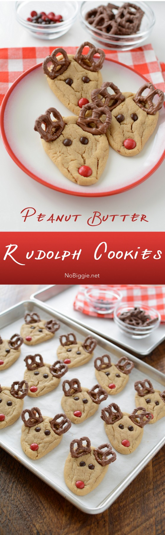 Peanut Butter Rudolph Cookies - delicious and cute cookies for your christmas party or a rudolph kind of night. #rudolph #cookies #peanutbutter #peanutbuttercookies #christmascookies