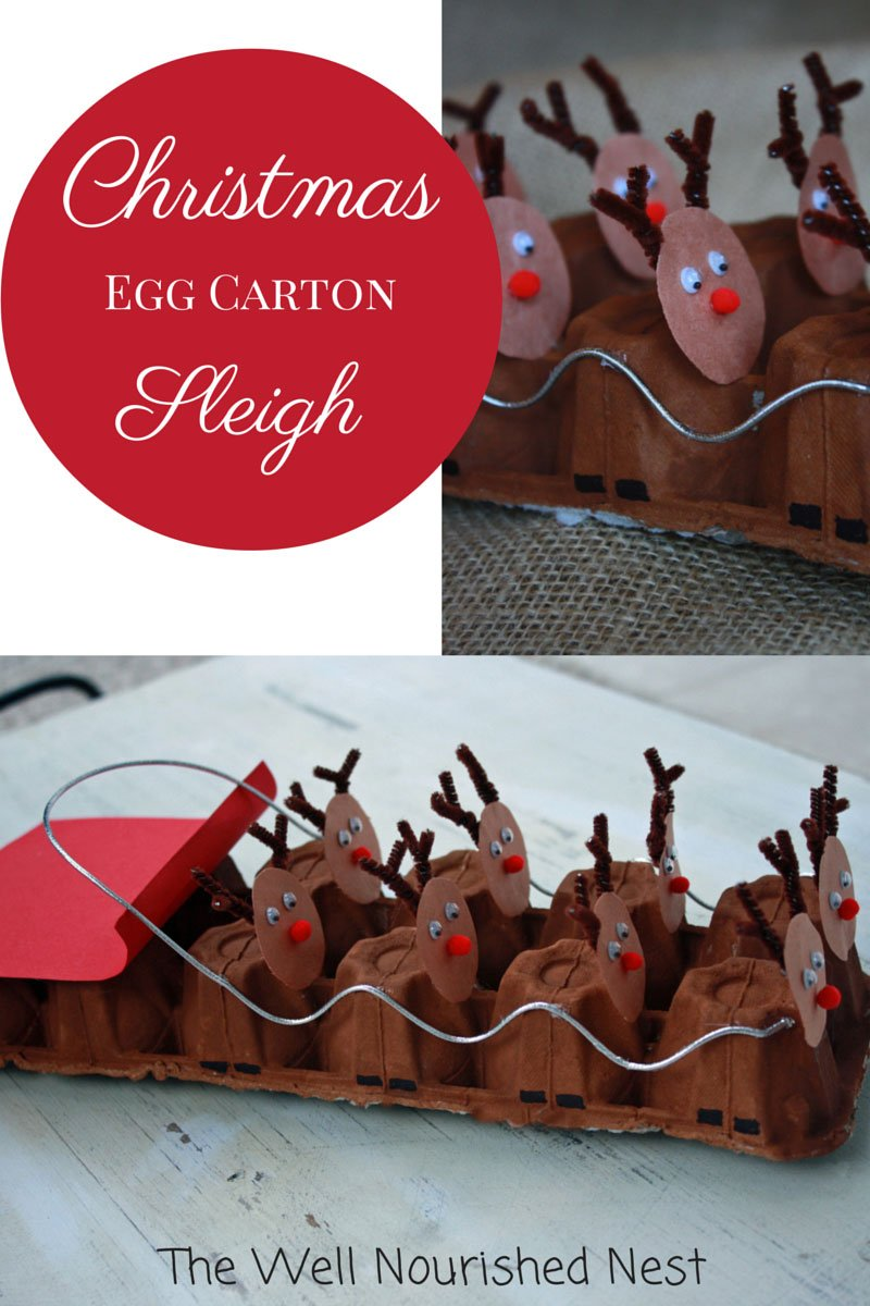 reindeer egg carton Christmas craft for kids | 25+ Rudolph crafts, gifts and treats | NoBiggie.net
