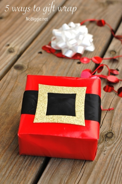 Santa belt gift wrap | 30+ Christmas Wrapping Ideas