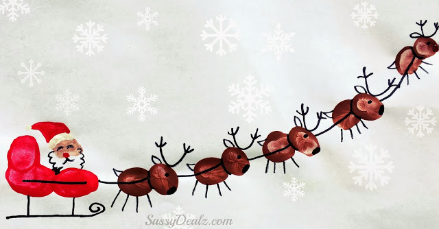 fingerprint craft santa sleigh with reindeer | 25+ Rudolph crafts, gifts and treats | NoBiggie.net