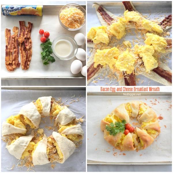 Bacon Egg and Cheese breakfast wreath | NoBiggie.net