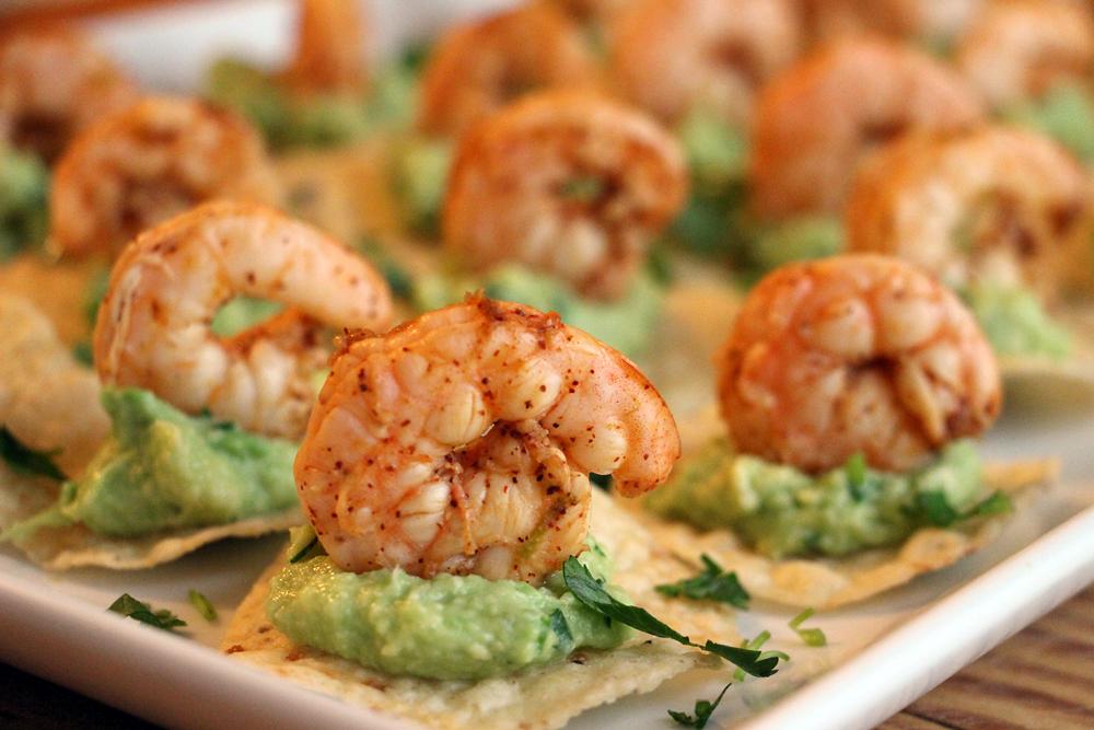 Chili-lime shrimp and guacamole tostadas | 25+ NYE party ideas