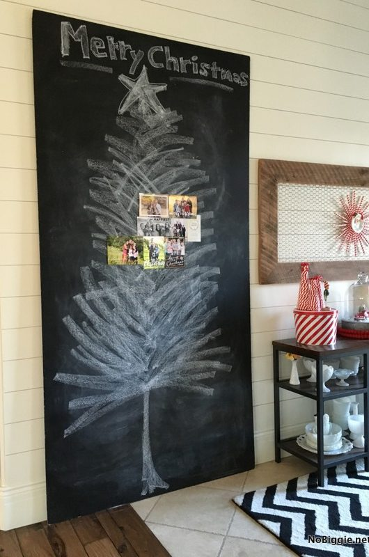 Christmas Card Display Idea a giant chalkboard get the tutorial on NoBiggie.net