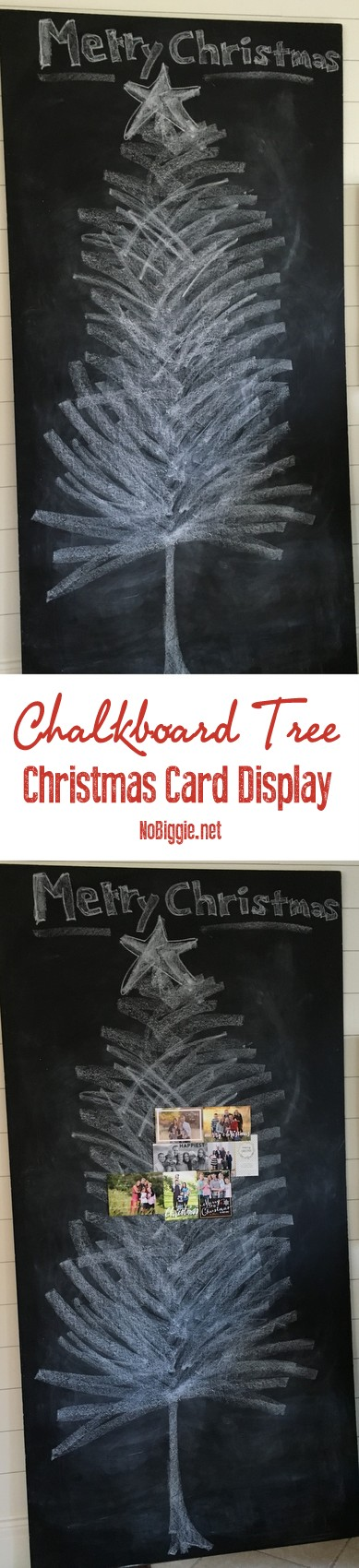 Christmas Card Display | a chalkboard Christmas Tree | get the directions on NoBiggie.net