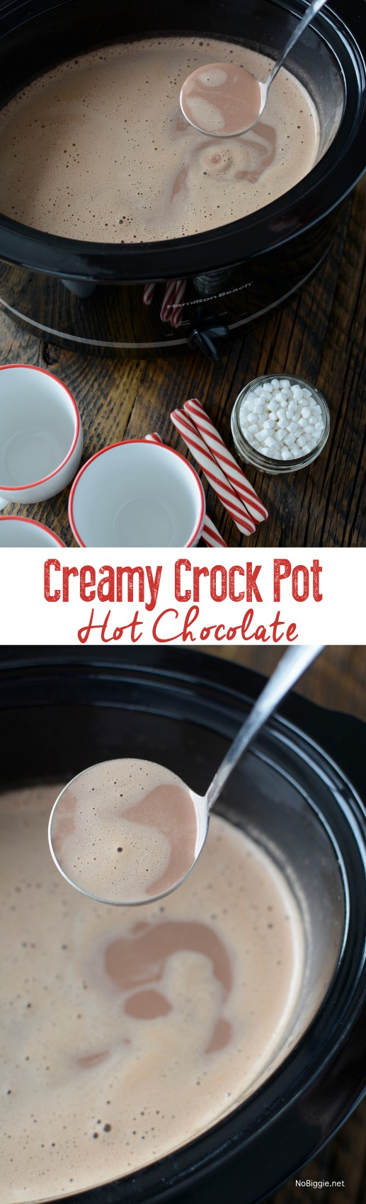 Creamy Crockpot Hot Chocolate - NoBiggie