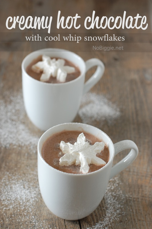 Creamy hot chocolate with cool whip snowflakes | NoBiggie.net