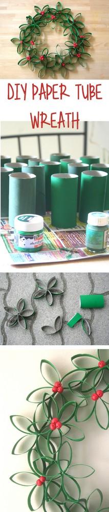 DIY paper tube Christmas wreath | 25+ easy DIY Christmas decor