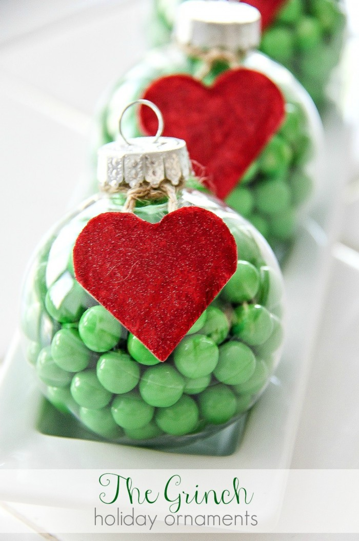 grinch ornament 25 grinch crafts and cute treats - The Grinch Themed Christmas Decorations