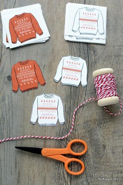 Make - Merry Christmas Ya Filthy Animal (free printable gift tags) | NoBiggie.net
