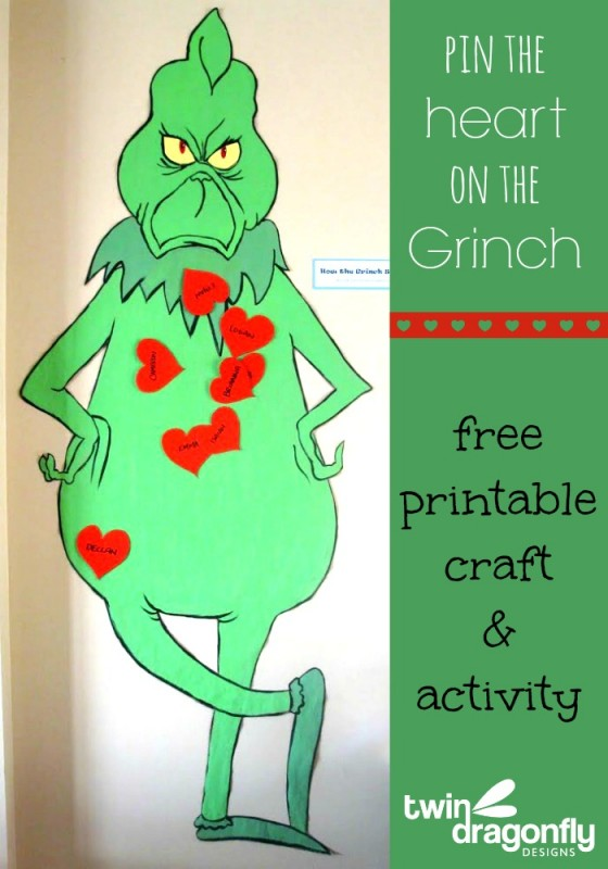 Pin the Heart on the Grinch | 25+ Grinch crafts and cute treats