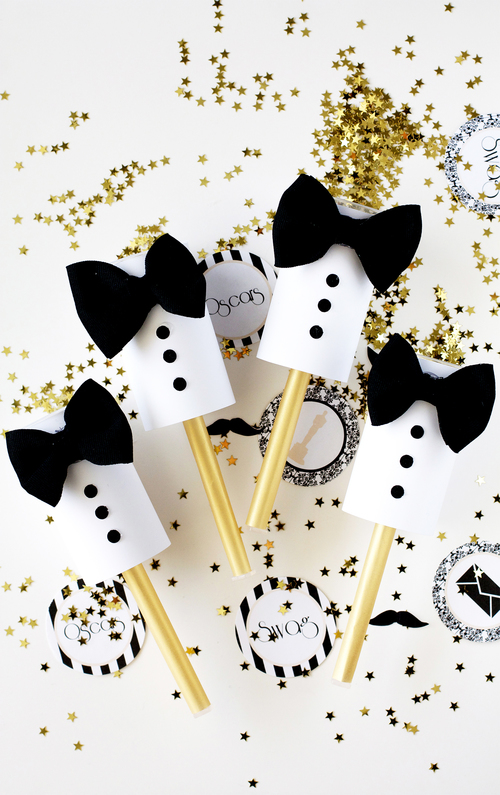 Tuxedo confetti poppers party favor | 25+ NYE party ideas