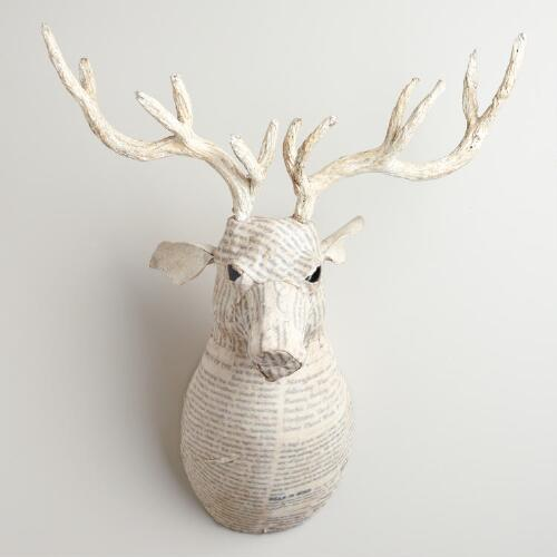 White Canvas Reindeer Bust