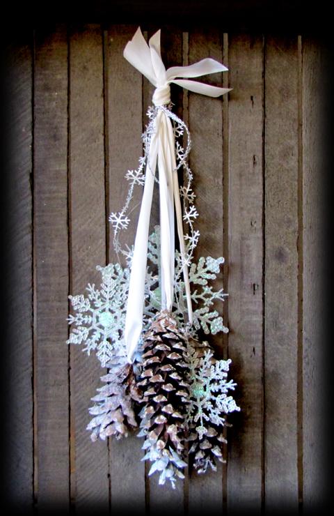 Winter wonderland pinecones may arts ribbon