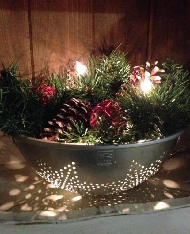 colander Christmas decor | 25+ easy DIY Christmas decor