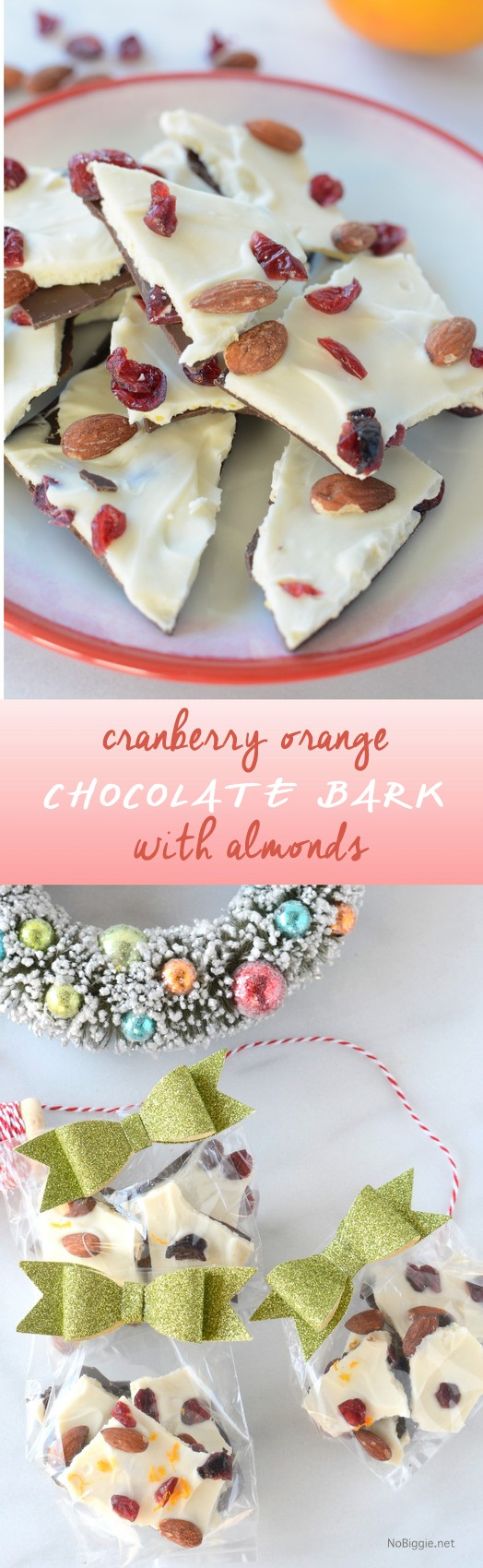 cranberry orange chocolate bark with almonds | so good and so easy! Get the how to on NoBiggie.net