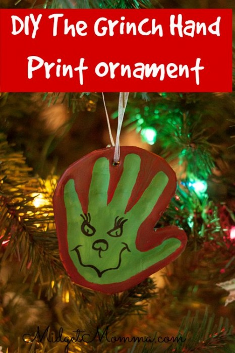 grinch hand print ornament | 25+ Grinch crafts and cute treats