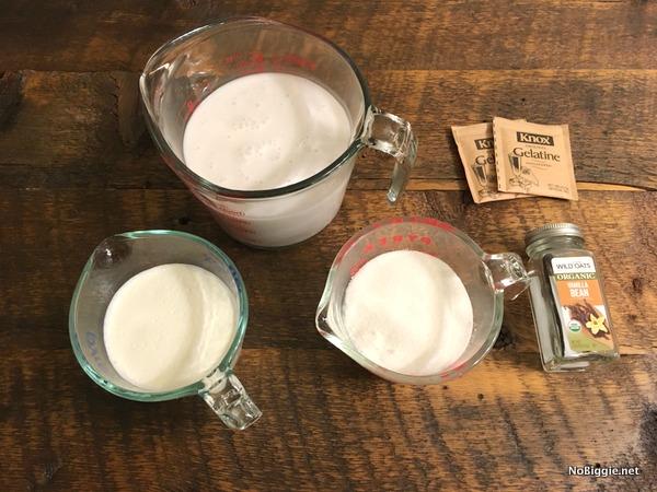 ingredients for vanilla been panna cotta