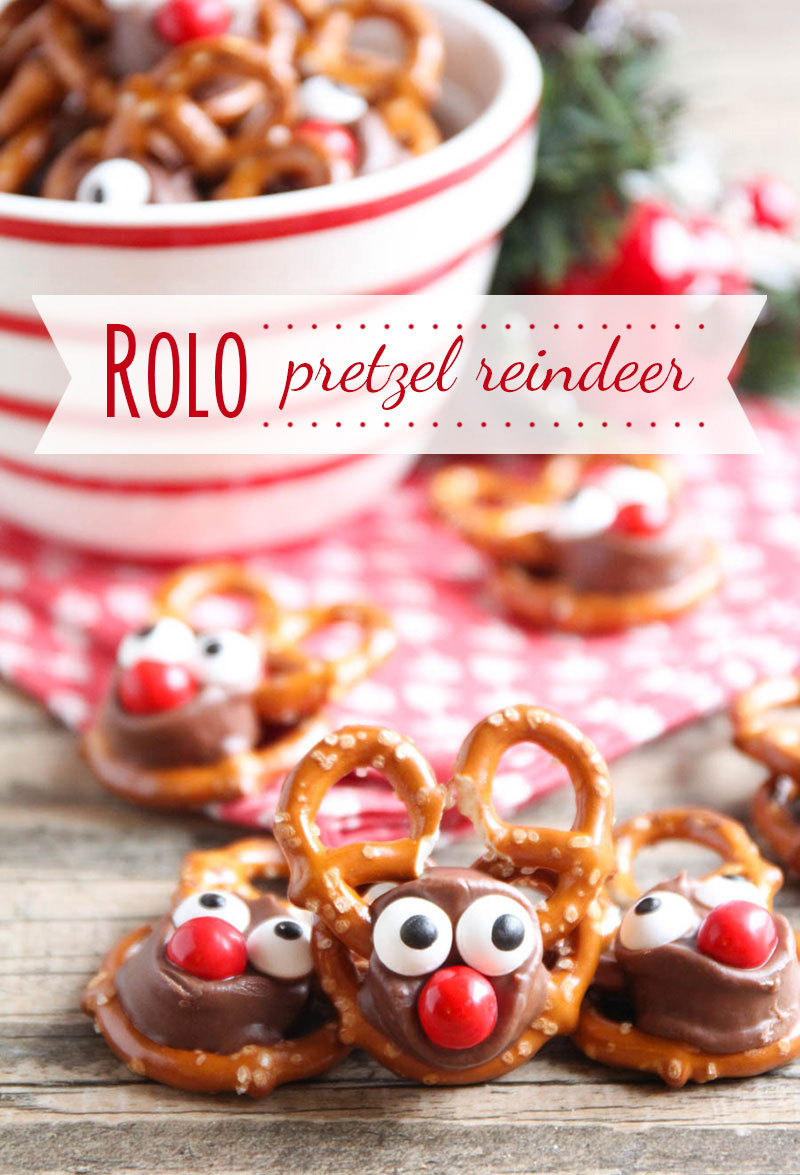 rolo pretzel reindeer | 25+ Cute Christmas Treats