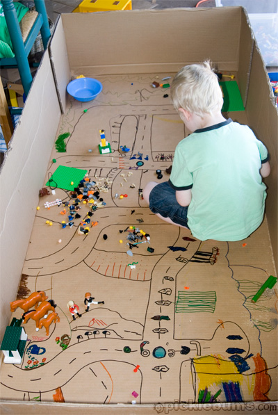 Cardboard town in the box | 25+ things to make with cardboard