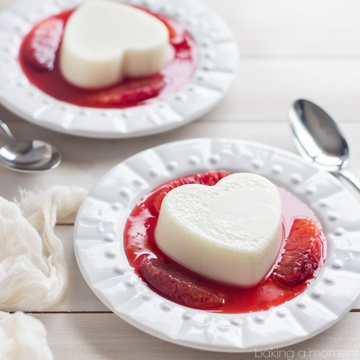 Coconut white chocolate panna cotta with blood oranges