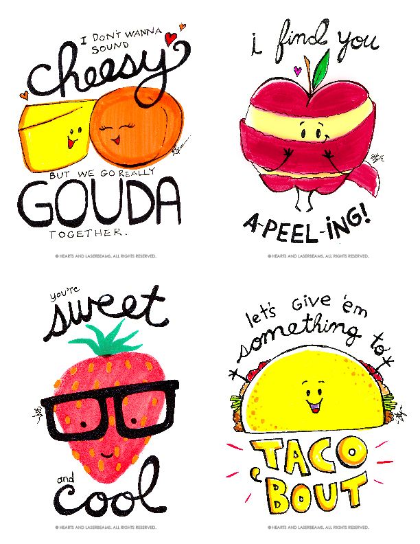 Free Printables - Funny Valentines with Food Puns