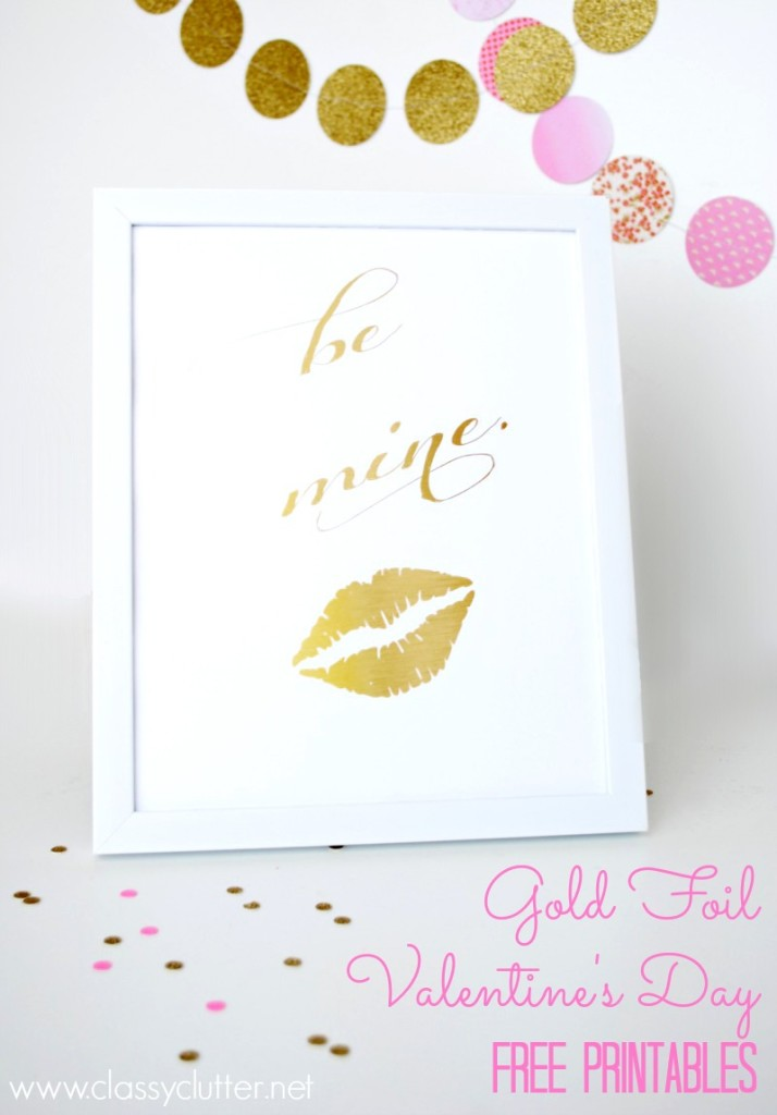 Gold Foiled Valentine's Day free printables