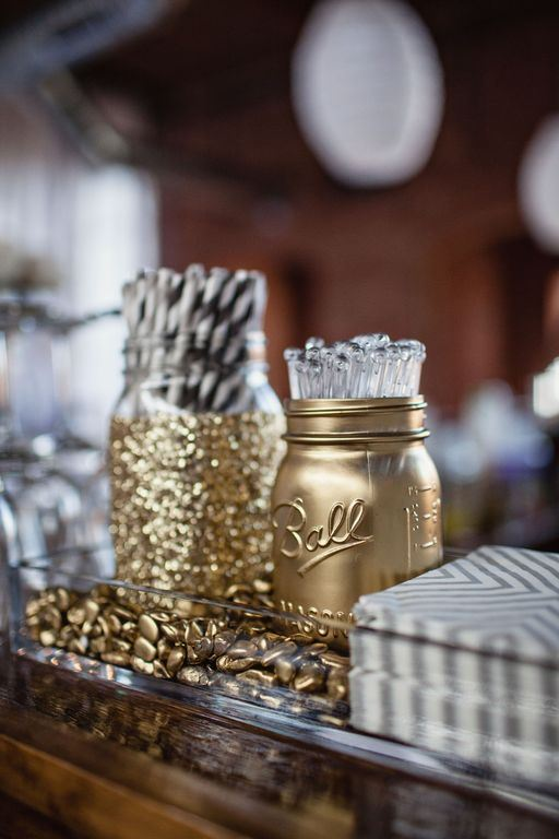 Gold mason jars | 25+ Oscar Party Ideas