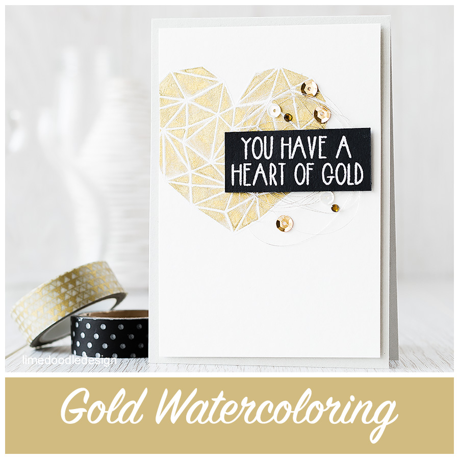 Gold watercoloring card