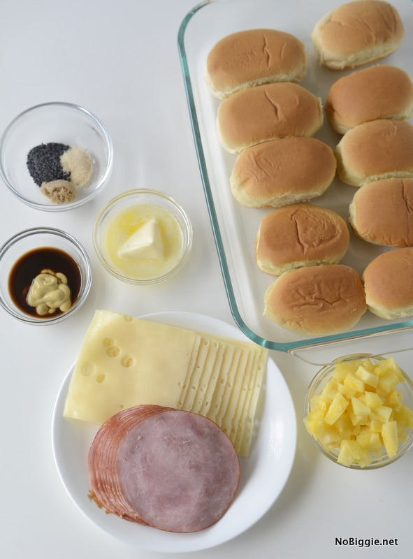 Ham and Cheese Hawaiian Sliders ingredients | NoBiggie.net