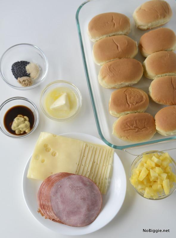 Ham and Cheese Hawaiian Sliders ingredients | NoBiggie.net
