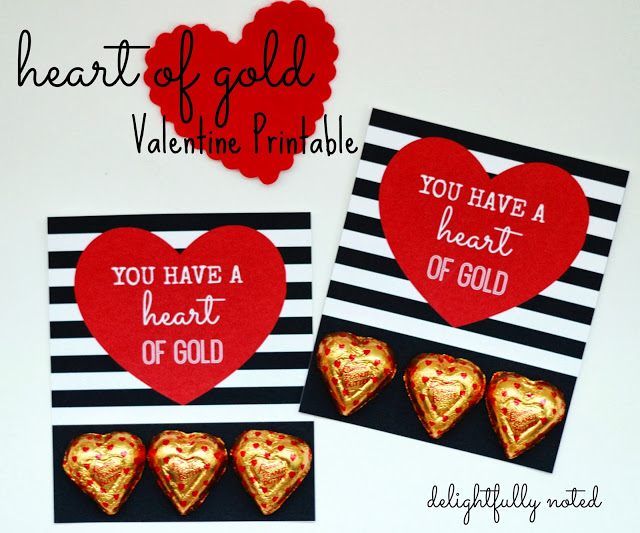 Heart of Gold Valentine Printable