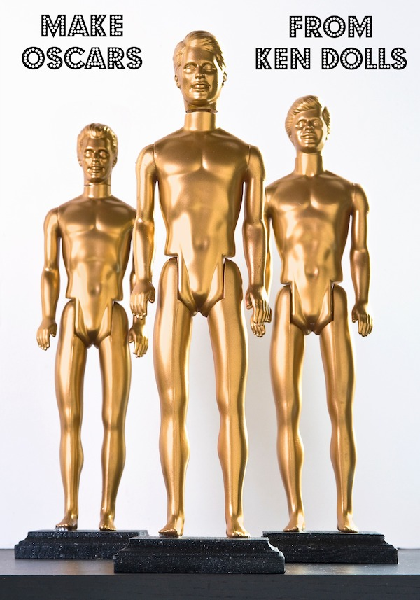 Make DIY Oscars from Ken dolls | 25+ Oscar Party Ideas
