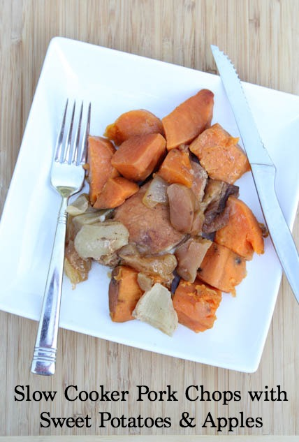 Slow Cooker Pork Chops with Sweet Potatoes and Apples freezer to crockpot | 25+ Freezer to Crockpot Meals