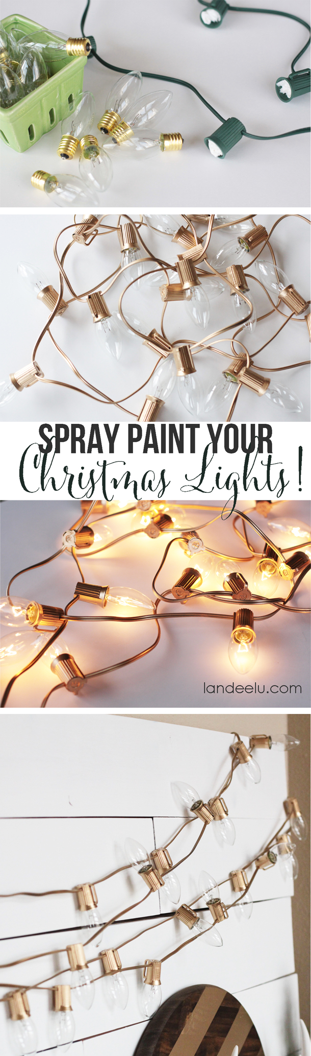 Spray Paint gold Christmas Lights | 25+ Oscar Party Ideas