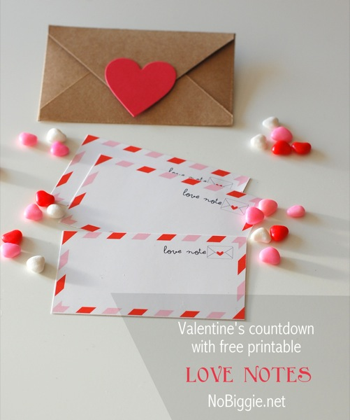 Love Notes printable Valentine's Day countdown